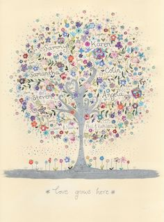 family tree with silver ink