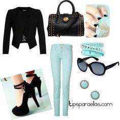 Outfit - Look del día.   Azul y negro. Elegante y divertido.