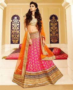 Buy Fascinating Pink Lehenga Choli online at  https://www.a1designerwear.com/fascinating-pink-lehenga-choli-3  Price: $174.00 USD