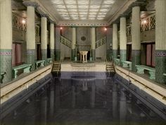 "The ""Pompeiian"" bath aboard the Imperator. Using the swimming pool of the Royal Automobile Club in London as his inspiration, the German shipping magnate Albert Ballin commissioned the club's architect Charles Mewes to replicate this space aboard his liners ""Imperator,"" ""Vaterland,"" and ""Bismarck."""