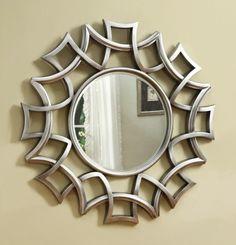 Coaster Accent Mirrors Starburst Accent Mirror in Silver Finish - Coaster Fine Furniture Rustic Wall Mirrors, Contemporary Wall Mirrors, Contemporary Decor, Decorative Wall Mirrors, Fancy Mirrors, Modern Wall, Starburst Mirror, Round Wall Mirror, Mirror Glass