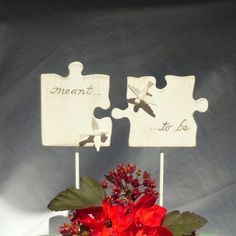 Puzzle Piece Wedding Cake Topper with Love Birds, Wedding Cake Topper with Hand Carved Wood Puzzle Pieces in Antique White