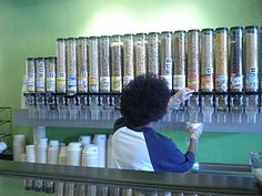 Cereal dispensers.... oh dear Lord!!! THIS is what I need!!!! THAT many on my wall....
