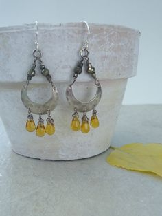 Emily Claire Studio on Etsy ~ Honey Drop Earrings ~ Fall Jewelry ~ Autumn Inspiration ~ Yellow