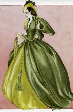 This is not a costume sketch. It is a lithograph printed from a painting that Walter Plunkett did after he retired. It illustrates the velvet curtain dress Vivien Leigh wore in  Gone With The Wind.
