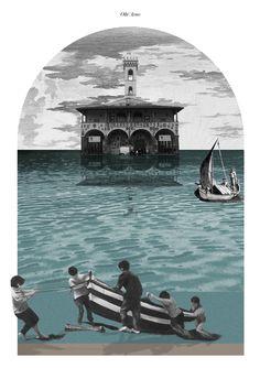 """""""Oltr'Arno"""" Collage cm 255x180. Carlalberto Amadori, con Ma0 studio. San Giovanni Valdarno"""