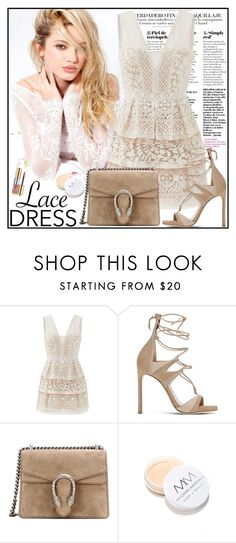 """Style trend:Lace dress"" by gaby-mil ❤ liked on Polyvore featuring Silvana, BCBGMAXAZRIA, Stuart Weitzman, Gucci, Modern Minerals, Yves Saint Laurent, dress and lace"