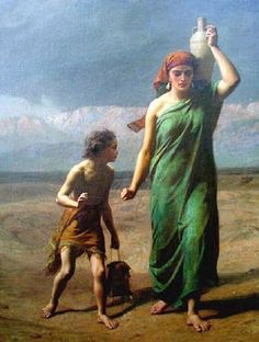 Hagar and Ishmael by the English painter Frederick Goodall (1822-1904). Here the mother is still strong, totally concentrated on the long march in the desert. Ishmael is also carrying the vital water but above all he's depending on his mother. She's marching on.