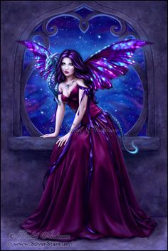 A Fantasy Fairy standing in front of a Fantasy Castle's Fairy Portal :)  I like the fact that this Fairy has a Dragon sitting upon her shoulder; and the fact that she's dressed in Purple Royal.  I wonder whether she's thinking of Moonlight?