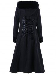 Lace Up Longline Hooded Coat - BLACK 2XL Mobile