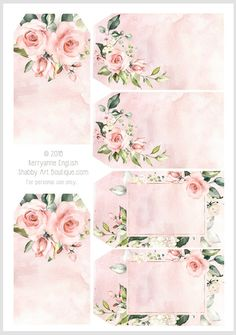 Download these 6 pretty watercolour rose tags from Shabby Art Boutique
