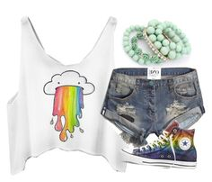"""""""I Want To Live In A World Where Everything Is Rainbows """" by avamancuso ❤ liked on Polyvore featuring Ruby Rocks, Abercrombie & Fitch, Converse and avamancuso"""