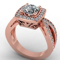 14K Rose Gold Diamond Engagement Ring with by EternityCollection, $2500.00