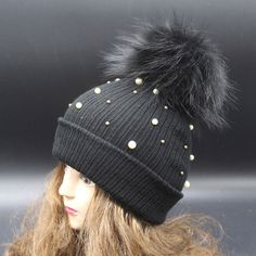 Fur Pompom 16cm 100% Real Raccoon Winter Warm Pearl Hat For Women Brand Knitted Cap Toucas De Inverno Skullies and Beanies