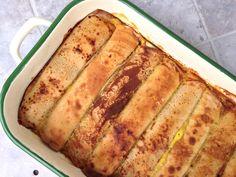 Zapečené palačinky s tvarohovou směsí Banana Bread, Deserts, Kitchen, Recipes, Food, Cooking, Kitchens, Essen, Postres