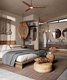 Farmhouse Interior, Interior Exterior, Interior Architecture, Amazing Architecture, Home Bedroom, Master Bedroom, Bedroom Decor, Bedrooms, Earth Tone Bedroom