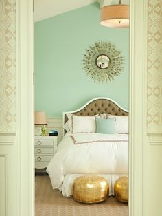 I love the wall color and gold accents!
