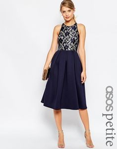 ASOS PETITE Lace Top Scuba Skater Midi Dress