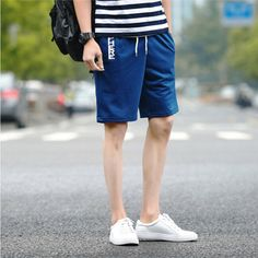 2016 Mens Lace Letters Printed Casual Shorts Solid Color Soft Cotton Summer Loose Beach shorts 5 Colors