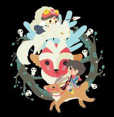 Princess Mononoke  San and Ashitaka T-Shirt by InksterInc on Etsy