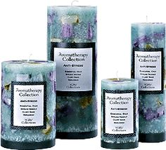 Aromatherapy Candles - Anti Stress  Contains three essential oils: Spruce Needle, Clary Sage, and Marjoram. This essential oil blend is designed to relieve pain and calm the mind and body. Spruce Needle: This fresh scent helps relieve respiratory problems and anxiety. It has a balancing and calming affect upon the body. Clary Sage: The warming qualities of sage alleviate PMS, headaches, and migraines.  Marjoram: A soporific, this essential oil calms the mind and body for a restful sleep.