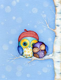 Owl Couple Love  Gift for Special Someone  Cute by AnnyaKaiArt, $18.00
