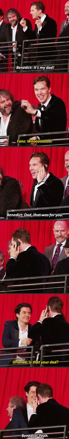 Benedict Cumberbatch and his dad --- I love this. ----Haha bet Timothy Carlton loved that. I love the shots of Martin talking to Ben's dad on the phone and Ben smiling :D----Sherlock cast talking to their dads is the cutest thing ever Benedict Cumberbatch, Sherlock Bbc, Watson Sherlock, Jim Moriarty, Sherlock Quotes, Benedict Sherlock, Sherlock Fandom, Martin Freeman, Der Hobbit Film