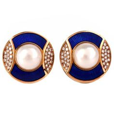 De Vroomen Enamel Pearl Diamond Gold Clip-Back Earrings | From a unique collection of vintage clip-on earrings at https://www.1stdibs.com/jewelry/earrings/clip-on-earrings/
