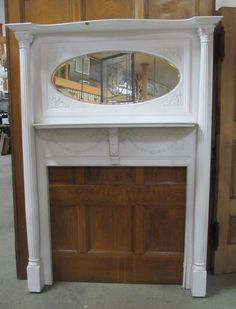 """painted victorian mantel MJTPainted Victorian Mantel w/Beveled Mirror and Fluted Columns Overall 57"""" w x 77 3/4"""" h Firebox 41 1/2"""" w x 36"""" h MT-0016"""