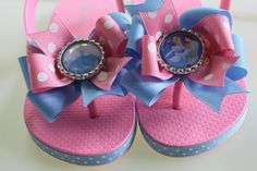 Cinderella bow flip flops with heel straps -- pink and blue bows with Cinderella and Prince Charming
