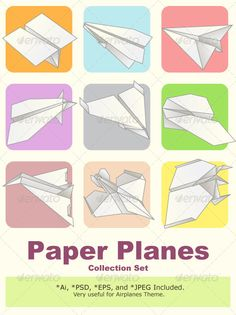 Paper Plane Model Collection Set  #GraphicRiver         Various of Paper Airplanes Model Collection Set. Useful As Icon, Illustration And Background For Airplanes Theme.   Main File is Vector Ai. Easy to Use and Custom. Also Available in another format. PSD (Vector Smart Object), Eps.8 and High Ress Jpeg.     Created: 12April13 GraphicsFilesIncluded: PhotoshopPSD #JPGImage #VectorEPS #AIIllustrator Layered: Yes MinimumAdobeCSVersion: CS Tags: aerodynamic #aeroplane #air #aircraft #airplane…