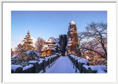 Moon over Snowy Bastei Bridge Acrylic Print by Jenny Rainbow. All acrylic prints are professionally printed, packaged, and shipped within 3 - 4 business days and delivered ready-to-hang on your wall. Choose from multiple sizes and mounting options. Art Prints For Home, Fine Art Prints, Framed Prints, Winter Photography, Fine Art Photography, Trending Art, Thing 1, Rainbow Art, Time Art