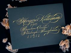 CLASSIC Script Hand Calligraphy Envelope Address Greeting Cards Flourish Gold