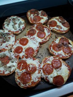 Pizza Bagels. Quick dinner or lunch idea. Made these tonight.. so easy and so good!!