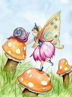 Fairy Art Print Orange Mushrooms Pink Snail  Limited by FairyDawn, $9.50