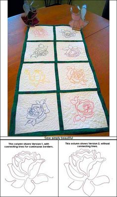 """""""Line Work Roses, Versions 1 or 2"""" these 10 beautiful rose designs are perfect for quilting small or large projects!"""