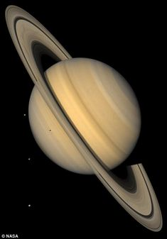 This approximate natural-color image from NASA's Voyager 2 shows Saturn, its rings, and four of its icy satellites. Three satellites Tethys, Dione, and Rhea are visible against the darkness of space. Space Planets, Space And Astronomy, One Step Beyond, Galaxy Space, Space Time, Amazing Spaces, Deep Space, Space Exploration, Colour Images