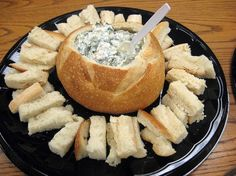 Party Food: Awesome Spinach Dip Note: Maybe add umbrella topper to make it Hawaiian
