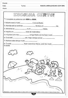Atividades de português 5 ano do Ensino Fundamental - Para Imprimir Worksheets, Public School, Literacy, Activities, Education, Books, Luigi, Wordpress, Religion Activities