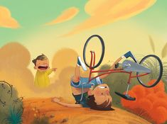 Ilustración bici caída