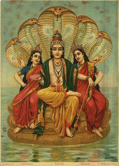 Laxmi devi and Earth goddess Bhumi, wives of Vishnu