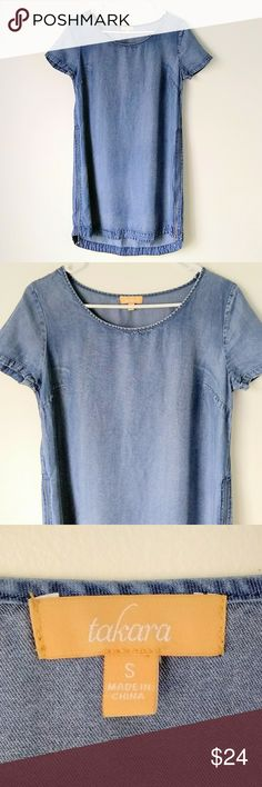 "Takara Chambray Dress Takara chambray dress size S. Zippers on both sides, crewneck, short sleeves, 100% tancel. 18.5"" pit to pit, 32.5"" length (front), the back is 2"" longer. There is a small white mark on the back L just past the midway point (see photo). Takara Dresses Mini"