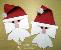 "December 23, 2013  Gift Bow Santa's | Tag made with the Gift Bow Bigz XL die! Adorable huh?  They're about 5"" X 8"" tall.      Cut a Real Red triangle and a 1/2"" X 5"" long White rectangle for his hat brim.  Round it by using the Modern Label punch on the ends.  His face is a narrow strip of Blushing Bride card stock.  Nose - 3/4"" circle punch, eyes - Itty Bitty shapes circle punch, hat pom pom is the Boho Blossoms punch."