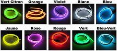 Fil lumineux électroluminescent dans toutes les couleurs
