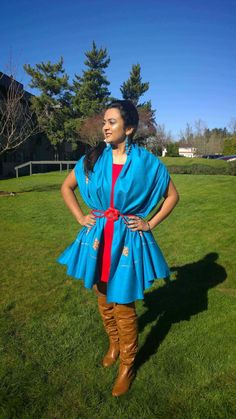 Indian fashion bloggers, how to wear a scarf as a dress, knee high boots, over the knee boots, blue scarf, winter style, ananya kiran, ananya tales