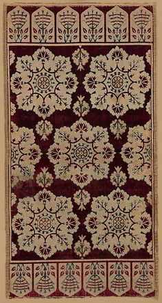 Cushion Cover (Yastik)  Object Name:     Cushion cover Date:     17th century Geography:     Turkey Culture:     Islamic Medium:     Silk, linen (?); cut and voided velvet, brocaded