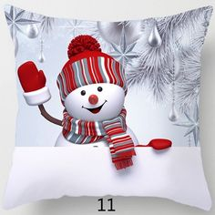 Christmas Snowman Pillow Case Polyester Home Throw Pillows Soft Decorative Cushion Cover Christmas Scenes, Christmas Snowman, Christmas Humor, Christmas Theme Background, Purple Flowers Wallpaper, Funny Snowman, Paper Flowers Craft, Christmas Templates, Christmas Paintings
