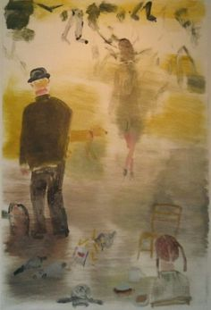 """MARK MULHERN, COMINGS AND GOINGS, MAN WITH BOWLER HAT, Monotype, 41 1/2 x 29 1/2"""""""