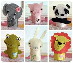 DIY animal finger puppets, so sweet !