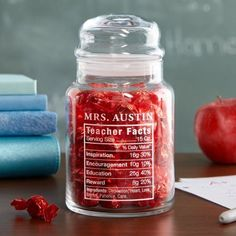 Teacher Facts Treat Jar A Personal Creations Exclusive! Give a special teacher a sweet reminder that they're made of only the most inspired ingredients. Teacher Valentine, Teacher Christmas Gifts, Valentine Day Gifts, Christmas Presents For Teachers, Valentine Gift Baskets, Funny Valentine, Valentines Diy, Merry Christmas, Christmas Jars